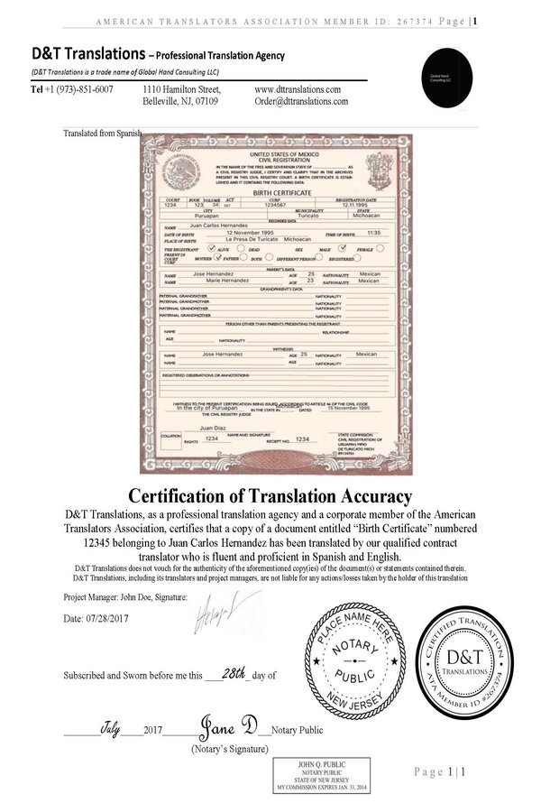 certified translation of birth certificate from spanish to english