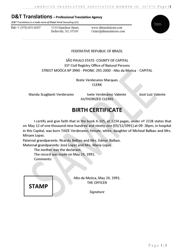 Sample birth certificate birth certificate translation of public colombian birth certificate translations mexican birth certificates translation samples dt translations yadclub Images